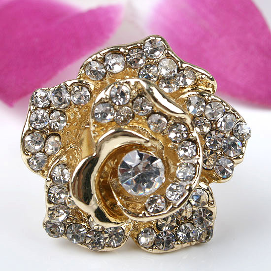 White Crystal Glass Rose Flower Adjustable Ring Sz 6
