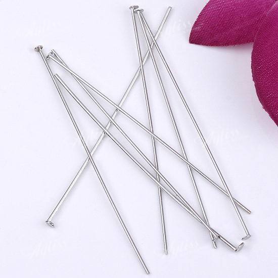 2000x-Silver-Tone-0-7x50mm-Flat-Head-Pin-Needle-Jewelry-Findings-Making-Supplies