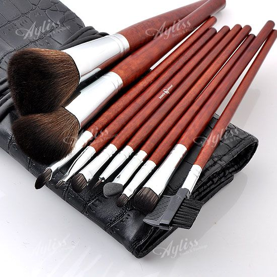Professional Cosmetic Brushes Set Tool + Black Bag Roll Up Case
