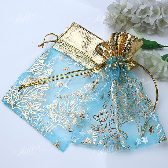 100x-Lake-Blue-Golden-Organza-Christmas-Tree-Jewelry-Gift-Favor-Bags-9x11cm-Lots