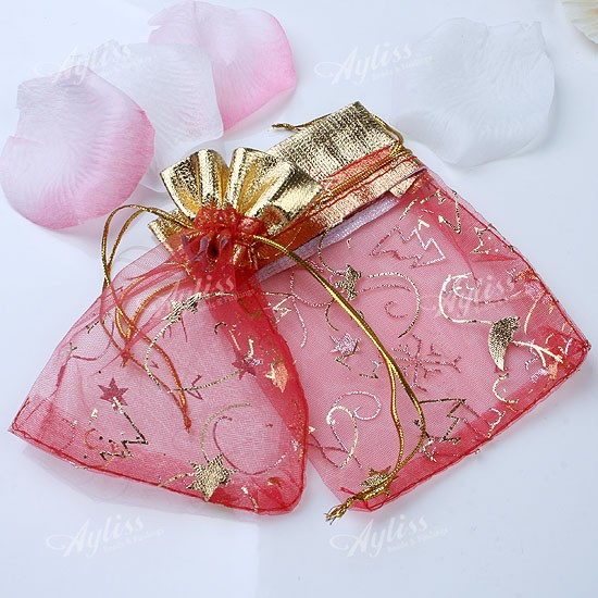 100x-Red-Golden-Organza-Christmas-House-Tree-Jewelry-Gift-Favor-Bag-9x11cm-Bulk