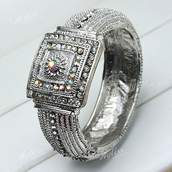 1PC-Clear-AB-Rhinestone-Silvery-Watch-Shape-Bangle-Bracelet-Cuff-Christmas-Gift