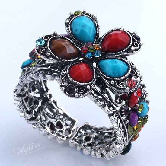 1x-Tibetan-Silver-Rhinestone-Crystal-Resin-Flower-Womens-Cuff-Bangle-Wristband