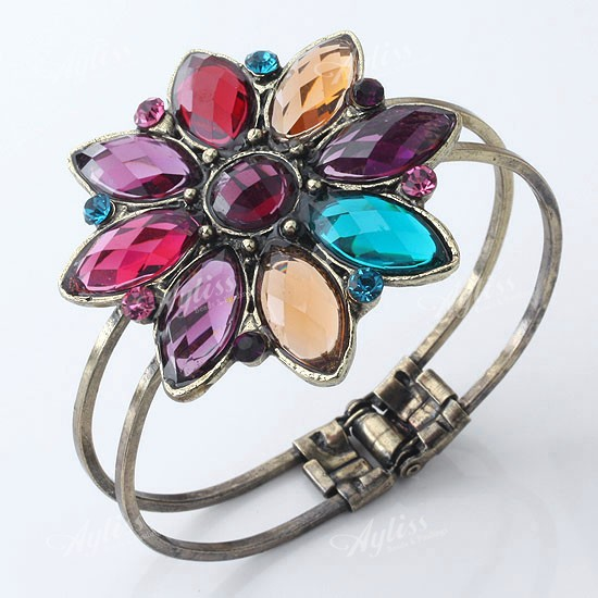 Multicolor-Resin-Crystal-Flower-Bangle-Bracelet-Vintage