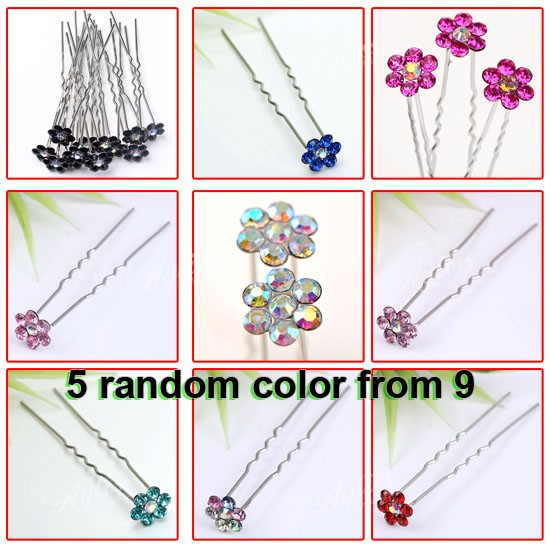 50x-Mixed-Rhinestone-Crystal-Flower-Wholesale-Girl-Hair-Pins-Clip-Wedding-Bridal