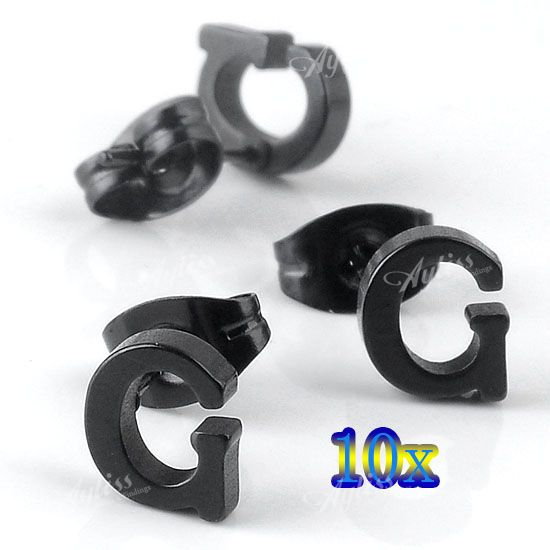 10X-Stainless-Steel-Plated-Black-Faced-Letter-G-Ear-Stud-Fashion-Mens-Earings