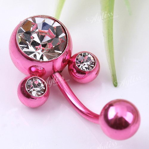 Crystal-Pink-Mouse-Belly-Navel-Ring-1X-Body-Jewelry