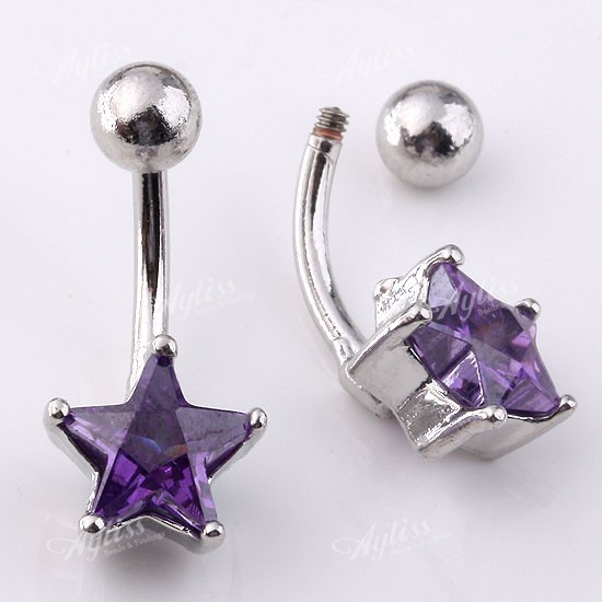 star belly piercings. 1PC 14ga Purple Zircon Star Belly Navel Ring Piercing