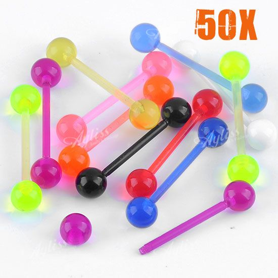 50x-Mixed-Multicolor-UV-Barbell-14ga-Lip-Chin-Labret-Ring-Bar-Stud-Tragus-Ball
