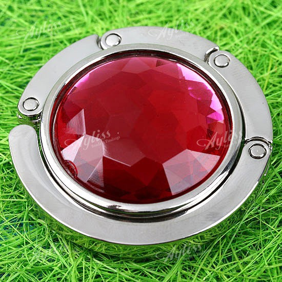 1PC-Red-Crystal-Glass-Alloy-Acrylic-Folding-Purse-Hanger-Handbag-Bag-Hook-Holder