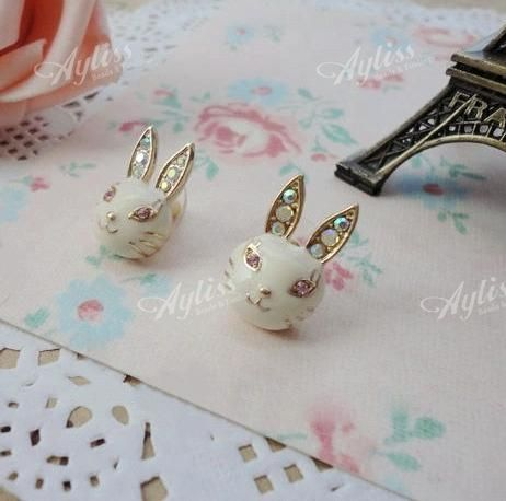 1-Pair-Gold-Tone-Clear-Enamel-Crystal-Cute-Rabbit-Bunny-Ear-Studs-Women-Earrings