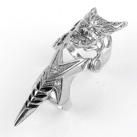 Crystal Skull Armour Spike Punk Double Finger Ring Mens Cool Gothic
