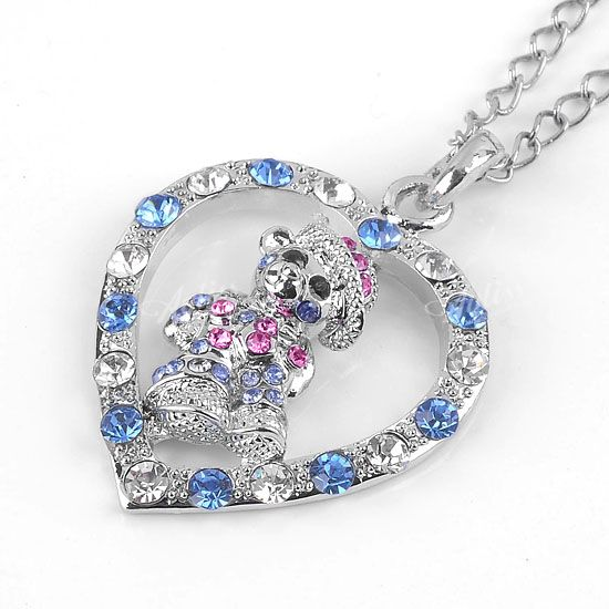 Silver-Plated-Heart-Cute-Bear-Charm-Pendant-Multicolor-Crystal-Rhinestone-Gift