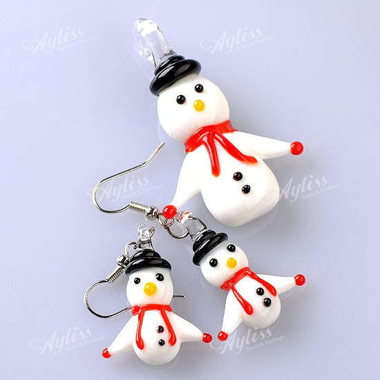 1-Set-Womens-Pendant-Hook-Earrings-White-Lampwork-Glass-Christmas-Snowman-Gift