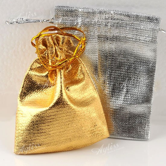 50-Wholesale-Silvery-Golden-Christmas-Organza-Jewelry-Favor-Gift-Bag-Pouch-9x7cm