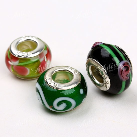 10PCS-MIXED-MURANO-LAMPWORK-GLASS-European-BULK-FLOWER-BEADS-Fit-BRACELET-CHARM