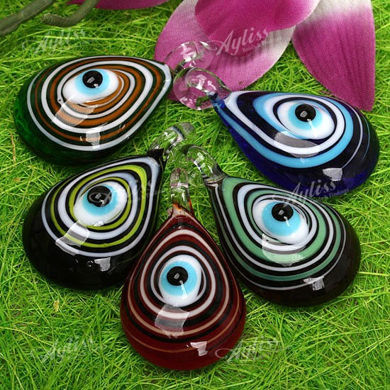 5-Pcs-Mixed-Lampwork-Glass-Drop-Evil-Eye-Pendants-Gift